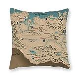 happygoluck1y - Fundas de almohada de lona blanca con diseño de mapa de Skyrim en elder Scrolls, 18 x 18 cm, para decoración del hogar, casa de campo o sofá