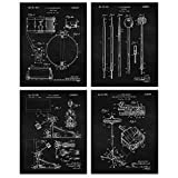Vintage Drums Patent Poster Prints, Set of 4 (8x10) Unframed Photos, Wall Art Decor Gifts Under 20 for Home, Office, Garage, Man Cave, DJ, Musician, College Student, Teacher, Band & Rock & Roll Fan