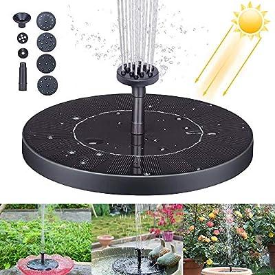 Solar Fountain Pump, 1.4W Solar Water Fountain Floating Solar Fountain Pump Solar Birdbath Fountain with 6 Nozzles for Pond, Pool, Garden, Fish Tank, Aquarium