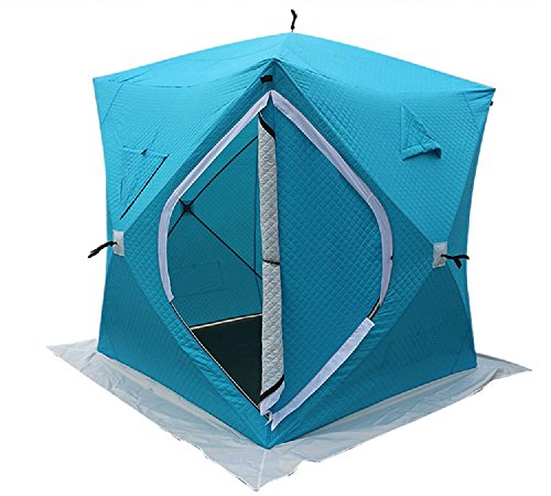 DANCHEL 4-Person Waterproof Insulated Pop-up Ice Fishing Shelter Tent with Ventilation Windows & Carrier Bag (Blue)