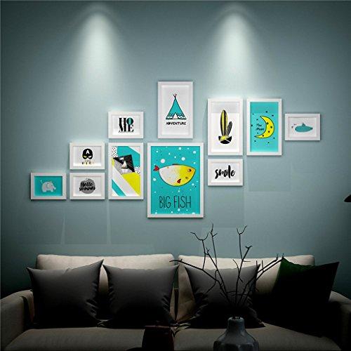 JXXDDQ Dekoration 11pcs / Set, hölzerner Foto-Rahmen, Bilderrahmen für Wand-Dekoration, Porta Retrato (Color : White deep-sea Fish)