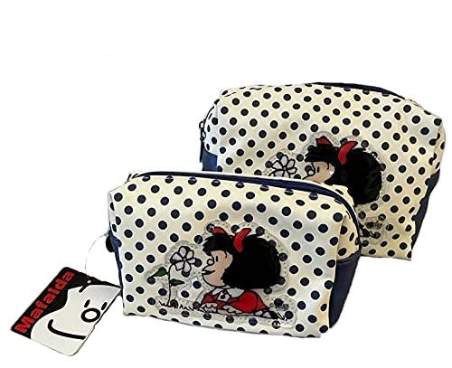 Mafalda - Juego de 2 bolsas de cosméticos, color azul y blanco