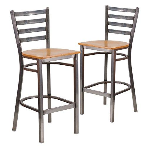 Flash Furniture 2 Pk. HERCULES Series Clear Coated Ladder Back Metal Restaurant Barstool - Natural Wood Seat
