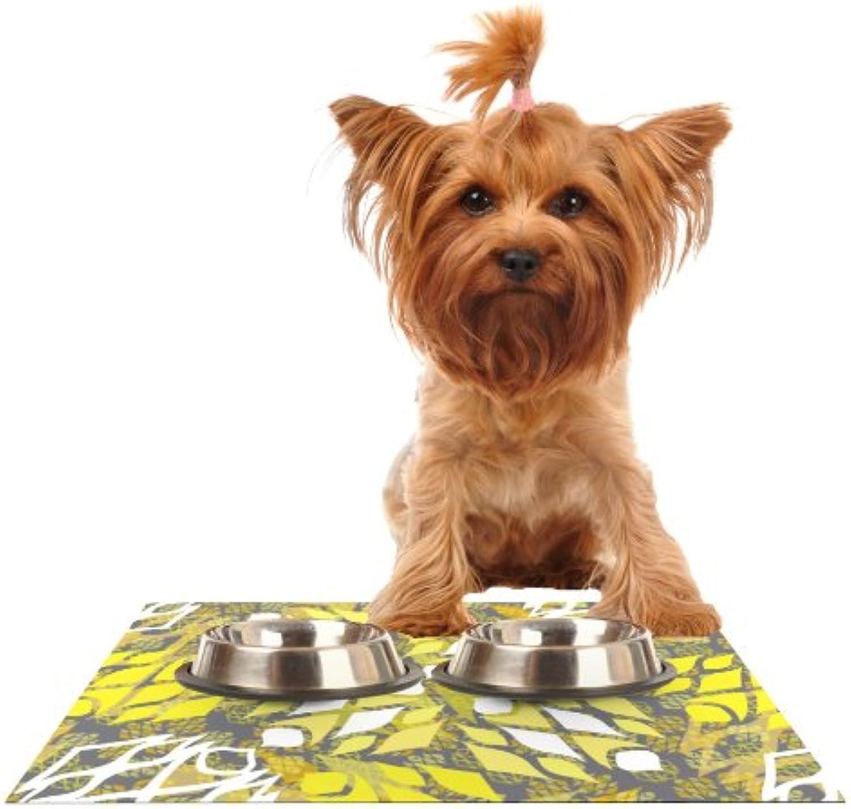 Kess InHouse Miranda Mol Sandy Signs  Feeding Mat for Pet Bowl, 24 by 15Inch