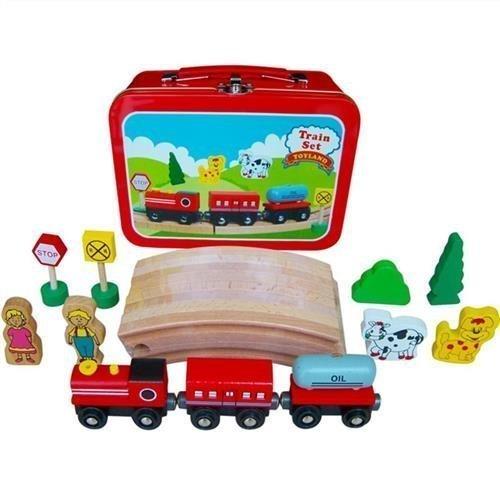 Train en bois Set à Tin Carry Case - 385-061