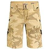 Geographical Norway Peanut Men - Bermudas Short Algodón Fit - Pantalones Cortos Deportivos para Hombres - Bermudas Hombre - Shorts Cortos Cinturón - Bermuda Ajuste Normal Cómodo Camo Beige L