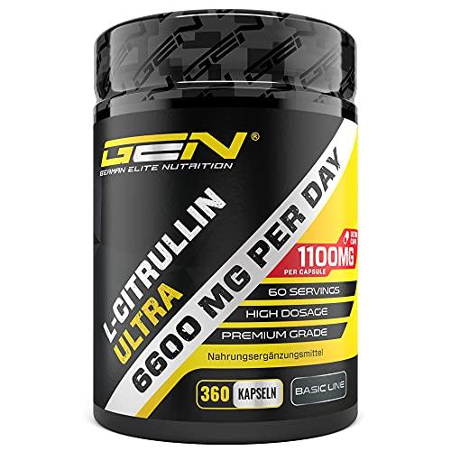 L-Citrullin 360 Kapseln - Extra hochdosiert mit 1100 mg je Kapsel - 6600 mg pro Portion - L-Citrullin DL-Malat 2:1 aus pflanzlicher Fermentation - Ohne unerwünschte Zusätze - Laborgeprüft