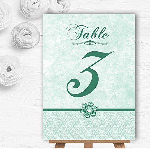 bleke munt groene vintage damast juweel bruiloft tafel nummer naam kaarten 20 x Large A4