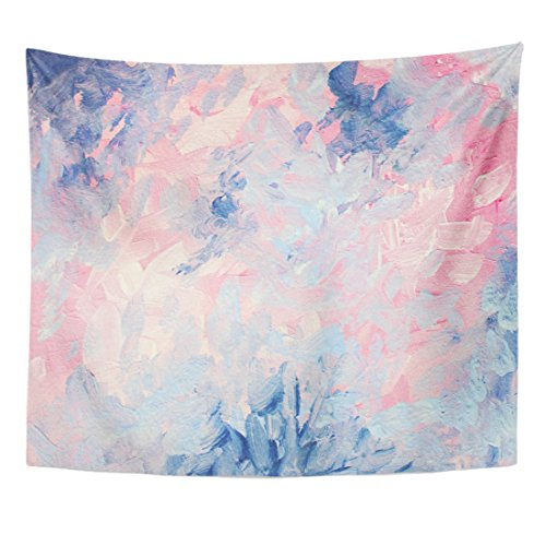 TOMPOP Tapestry Abstract Gouache Painting Dreamy Elegant and Cheerful Light Pink Blue Pastel Cute Home Decor Wall Hanging for Living Room Bedroom Dorm 50x60 Inches