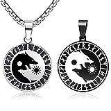 Yin Yang Wolf Pendant Viking Runes Necklace For Women Men Valknut Scandinavian Celtic Odin Symbol Norse Stainless Steel Jewelry (A-Wolf-Steel)