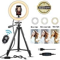 三脚スタンドと電話ホルダー付きの10インチリングライト、調光可能な3色モード&10の明るさ、ライブストリーミング、YouTube、ビデオ撮影、Vlog向けのUSB電源デスクセルフリングライト