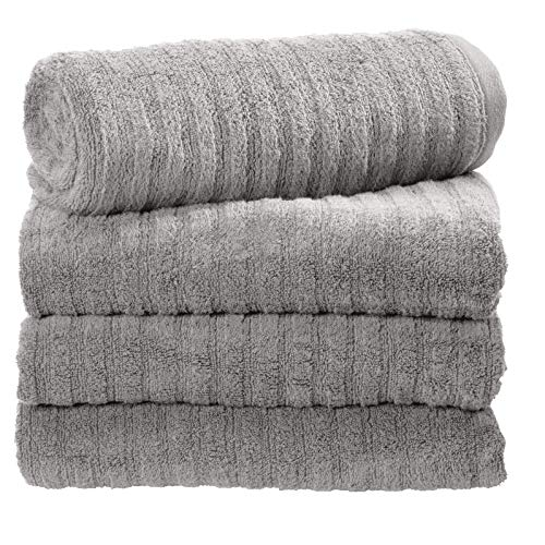 iDesign Ribbed Bath Towel with Hanging Loop, 100% Cotton Textured Striped Soft Absorbent Machine Washable Body Towel for Bathroom, Gym, Shower, Tub, Pool - Set of 4, Gray