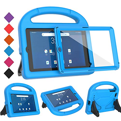 """BMOUO Kids Case for Walmart Onn 7 inch Tablet, with Built-in Screen Protector, Shockproof Light Weight Handle Stand Case for Surf Onn 7"""" Android Tablet 2020/2019 (Model: 100005206/100015685),Blue"""