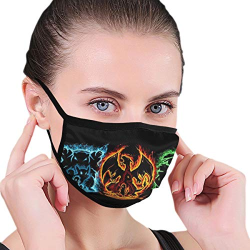 Hidreama Poké_Mon M-Shaped Novetly Face Mask Reusable Outdoor Mouth Muffs Rave Seamless Decoration Warm Baby One Size