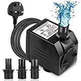 BARST 1500L/H Submersible Water Pump (30W,15ft), Ultra Quiet Aquarium Pump for Fountains, Pool, Fish Tank, Pond, Hydroponics, Statuary with 4 Srtong Suction Cups,3 Nozzles …