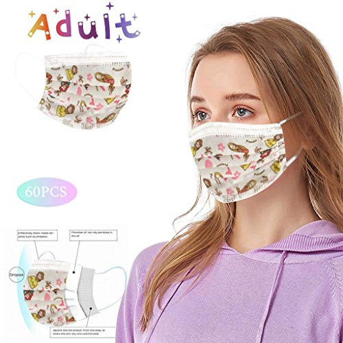 Pstarts Disposable Face_mask for Women and Men, 3 Ply Protective Non-Woven Breathable Face_Coverings Anti-Haze, Comfort Earloop, Back to School Supplies