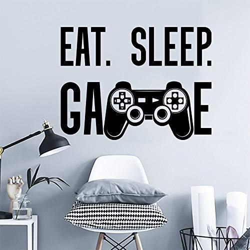 Yilooom Game Wall Decal, Eat Sleep Game Decal, Video Game Decal, Teen Boy Room Decor, Game Sticker, Playroom Decor, Game Controller Decal 22 Inch In Width