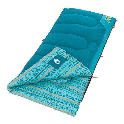 "Coleman Kids Sleeping Bag | 50°F Sleeping Bag for Kids | Cool Weather Sleeping Bag, Teal , 60"" x 26"""