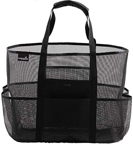 MISSLO Mesh Shower Caddy Dorm Beach Bag Extra Large Waterproof Pockets Toy Tote Bag for Bathroom College Pool Picnic Grocery Gym for Men Women