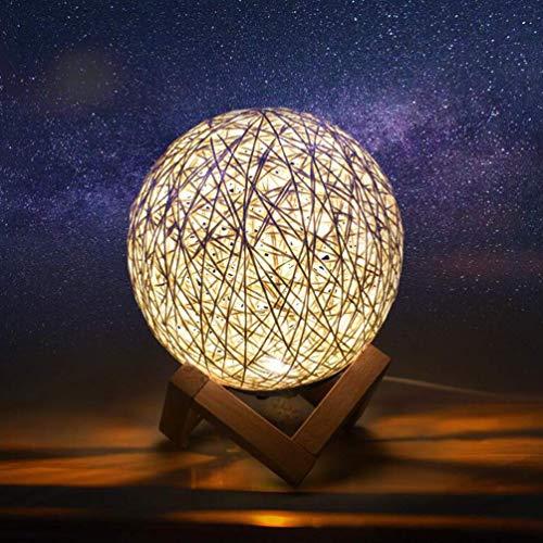XXLYY Lámpara de Luna 3D LED Rattan Moon Night Light Lámpara de mesita de Noche con Soporte de Madera para el hogar Dormitorio Mesita de Noche