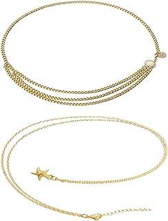 2 Piezas de Cadena de Cintura de Enlace de Metal de Multi Capa de Moda de Mujeres,Cuerpo Cadena Bikini Cadena de Cintura P...