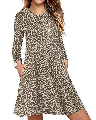 CNFIO Mujer Vestido Cuello Redondo Manga Larga Plus Tamaño Tops Moda Jersey Punto Mujer Invierno (Beige-Leopardo, L)