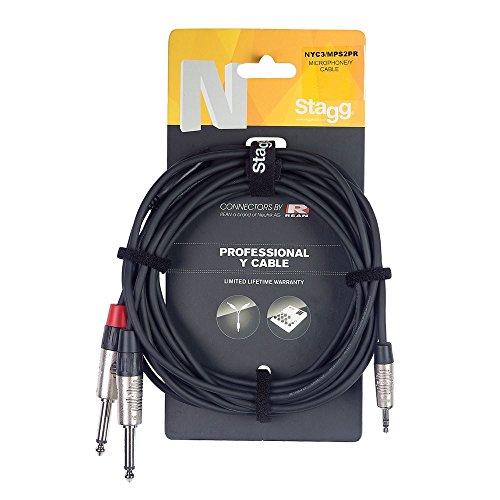 Stagg NYC3/MPS2PR N Serie Stereo Mini Telefoon Plug naar 2x Mono Telefoonkabel