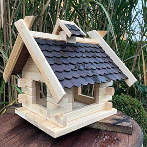 DARLUX Vogel Futter Haus Rechteckige Futterstelle aus Holz Vogelhaus Natur/Dunkelbraun
