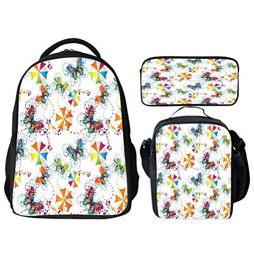 Colorful Umbrellas Fairy School Backpack Set Bookbags 14' Laptop Backpack Kids Lunch Bag