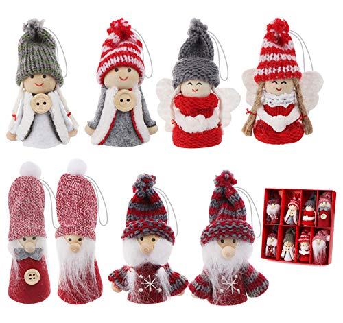 ilauke - Lote de 8 colgantes para árbol de Navidad, armario, mini niño, niña, muñeco colgante de peluche, diseño de árbol de Navidad, figuras de madera y ganchillo, 8 cm de altura