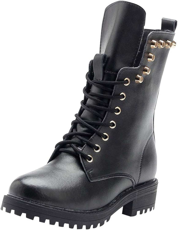 QVRGE Herbst Und Winter Leder Mode Martin Stiefel Warme Schuhe