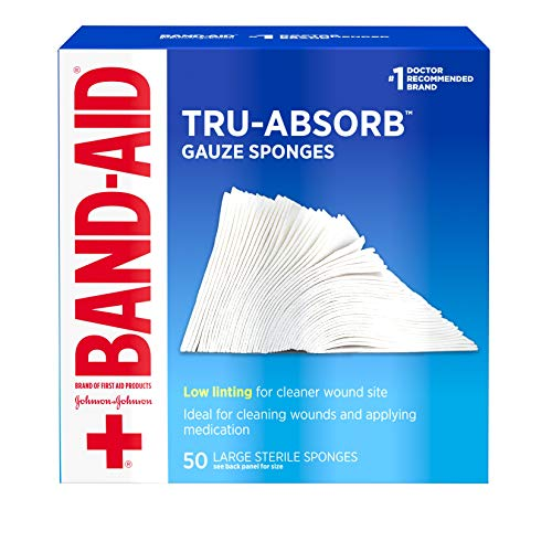 Band Aid Brand First Aid Products Tru-Absorb Sterile Gauze Sponges for Cleaning and Cushioning Wounds, Low-Lint Design, 4 inches by 4 inches, 50 Count