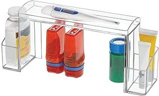 mDesign Small 2-Tier Plastic Medicine Cabinet High-Rise Storage Organizer - for Vitamins, Medical Supplies Makeup Door Shelf Organization - Clear