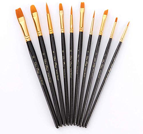 Febbya Pinceau de Peinture,Sets de Pinceaux of 10 Pinceau de Gouache pour Aquarelle Huile Acrylique Artisanat Rochers Dessin pour Bricolage Adolescents Enfants Nylon Noir