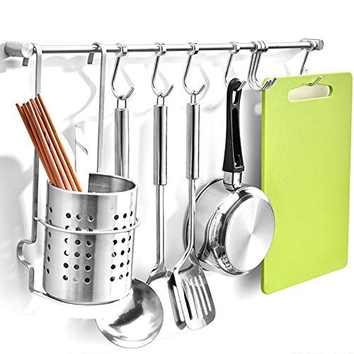Z·Bling Kitchen Sliding Hooks, Stainless Steel Hanging Rack Rail Organize  Kitchen Tools with Utensil Removable S Hooks for Towel, Pot Pan, Spoon, ...
