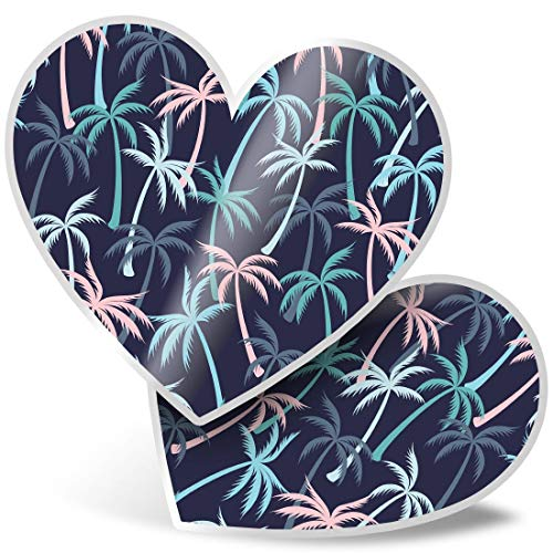 2 x Heart Stickers 10 cm - Palm Tree Surf Style Fun Decals for Laptops,Tablets,Luggage,Scrap Booking,Fridges #12915