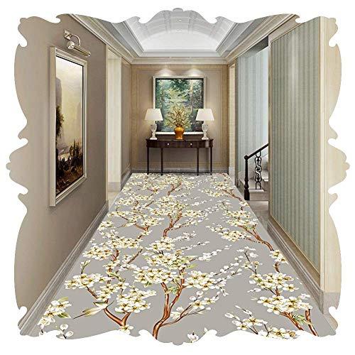 Kzf onderhoudsvriendelijk zacht wasbaar duurzaam loper tapijt vloer tapijtloper slipdruk grijze bloem kan individueel op maat worden geknipt, 1,2 x 1 m