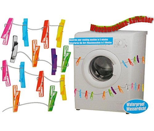 alles-meine.de GmbH Sticker / Aufkleber - z.B. für Maschmaschine - wasserfest -  28 Stück Wäscheklammern  - bunt - Sticker Tattoo Waschmaschinen - Badezimmer Deko