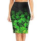 DAWN&ROSE Falda larga para mujer con hojas de hierba hasta la rodilla