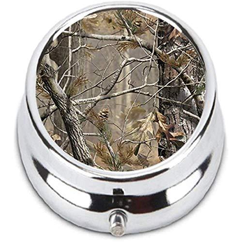 Realtrees Real Tree Camo Einzigartiger, runder Pillenkasten aus rostfreiem Stahl mit Halter für strapazierfähige Mode-Aufbewahrungsbox, Brieftasche