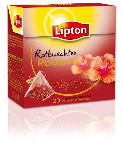 Lipton Rotbuschtee Rooibos mit Hibiskusblüten (Pyramide -Teebeutel), 3-er Pack (3 x 20 Teebeutel)