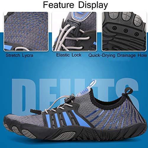 Unitysow Hombre Zapatilla Minimalista de Barefoot Trail Running Calzado de Correr en Montaña Sneakers Versátil Aire Libre Deportes Gym Asfalto Playa Zapatos de Agua,Gris Oscuro,40