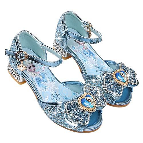 YOSICIL Niña Zapatos de Tacón Disfraz de Princesa con Lentejuelas Zapatos de Ballet Tango Latino Zapatilla de Vestir para Cumpleaños Fiesta Cosplay Carnaval 3-12 Años