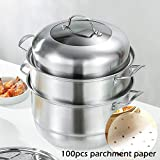 MANO 2-Tier Stainless Steel Steamer Pot 12 Inch Steam Pot Set for Cooking Pot with Lid Multipurpose Cookware Pots Stock Pot Sauce Pot with Handle (11.8 Inch, Stainless Steel)