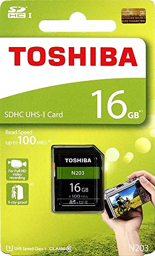 Toshiba 16GB SD Memory Card N203 SDXC UHS1-R100 U1 Retail Pack (THN-N203N0160A4)
