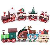 2 piezas Tren de madera navideño Mini tren navideño de madera Adornos navideños de madera en miniatura Juego de juguete de tren madera Decoraciones Para Arbol De Navidad para regalos de jardín infante