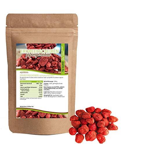 Mynatura gefriergetrocknete Erdbeerscheiben I pflanzlich I naturbelassen I Trockenfrüchte I Obst I - schonend getrocknet (1 x 350g)