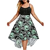 Sleeveless Tank Dress for Women Grommet Floral Skull Print Slim Maxi Dress Irregular Big Swing High Low Plus Size Dress Green