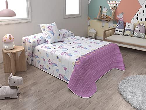 BENEDETTAHOME Colcha Bouti Primavera-Verano Modelo Unicornios. Cama 90: Tamaño 180x260 cm + 1 cuadrante de 50x50 cm.