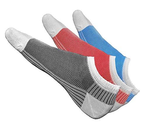 vitsocks Sneaker Socken Herren (3x Set) kurz, extreme atmungsaktiv & leicht, MERCERISIERTE BAUMWOLLE, Weiß mit Rot Türkis Schwarz, 42-43